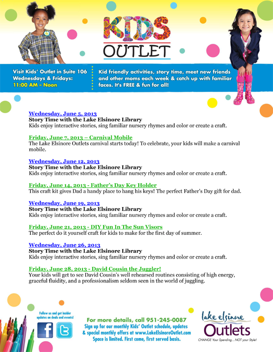 http://www.lakeelsinoreoutlet.com/events