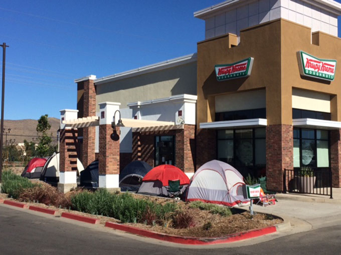 This was the scene Monday afternoon outside the Menifee Krispy Kreme Doughnuts store, which opens at 5:30 a.m. Tuesday. Menifee 24/7 photo: Doug Spoon