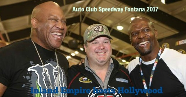 Tommy 'Tiny' Lister, Eric Stonestreet and Terry Crews hanging out during the drivers meeting before the Auto Club 400