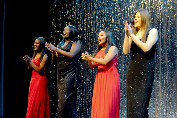 courtesy photo/lifetouch-rusd Members of the group LETS, perform Ariana Grande's song, 'Piano' during RUSD's 11th annual Puttin' on the Ritz. Members include Lilia Martinez, Ezhana Adams, Tonia Falowo and Sabrina Gutierrez, all seniors at Carter High School.